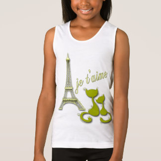 I Love Paris Elegant Olive Eiffel Tower And Cats Tank Top