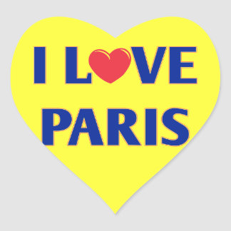 I love Paris, French flag colors Heart Sticker