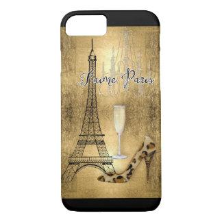 I Love Paris Gold Leaf Eiffel Tower Fashion Shoes iPhone 7 Case