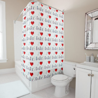 I Love Paris in Notre Dame Stained Glass Shower Curtain
