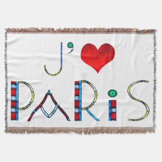 I Love Paris in Notre Dame Stained Glass Throw Blanket
