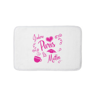 I Love Paris in the Morning - Croissant Cafe Bath Mats