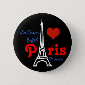 I love Paris . romantic Eiffel 6 Cm Round Badge