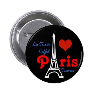 I love Paris . romantic red heart 6 Cm Round Badge