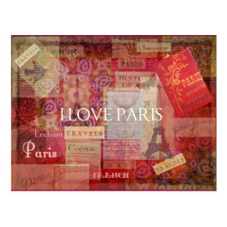 I Love Paris VINTAGE ART Postcard