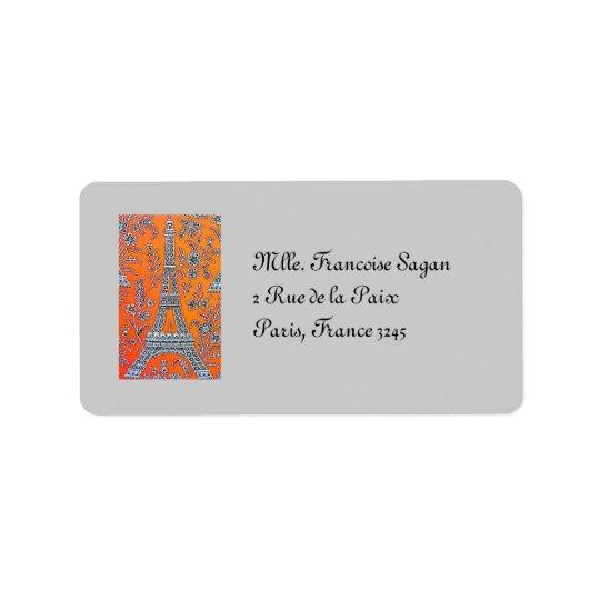 I Love Paris  Vintage Label Address Label