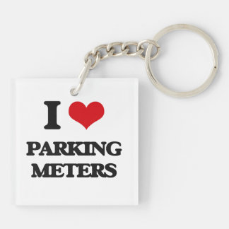 I Love Parking Meters Square Acrylic Key Chain