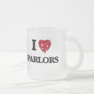 I Love Parlors Frosted Glass Mug