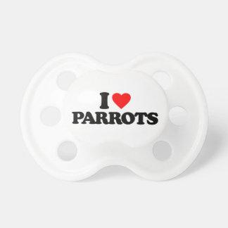 I LOVE PARROTS PACIFIERS