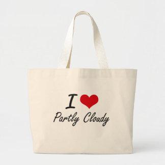 I love Partly Cloudy Jumbo Tote Bag