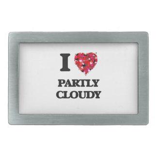 I love Partly Cloudy Rectangular Belt Buckle