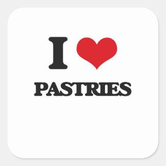 I Love Pastries Square Sticker