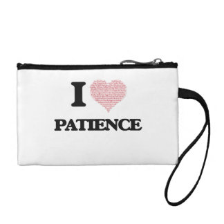 I love Patience (heart made from words) design Change Purses