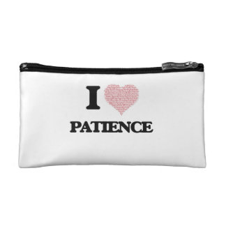 I love Patience (heart made from words) design Cosmetic Bags