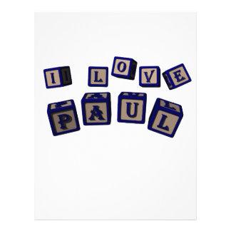 I love Paul toy blocks in blue Full Color Flyer