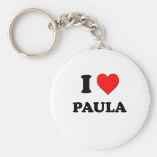 I Love Paula Basic Round Button Key Ring