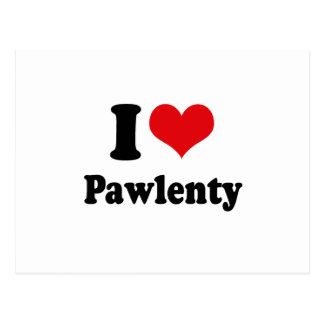 I LOVE PAWLENTY POSTCARD