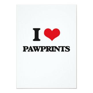I Love Pawprints 5x7 Paper Invitation Card