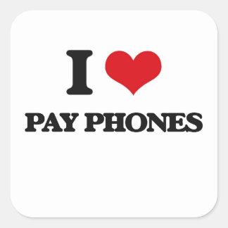 I Love Pay Phones Square Sticker
