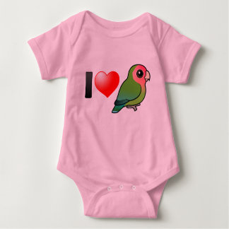 I Love Peach-faced Lovebirds Baby Bodysuit