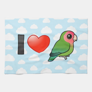 I Love Peach-faced Lovebirds Tea Towel