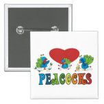 I Love Peacocks 15 Cm Square Badge