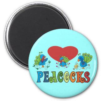 I Love Peacocks Magnet