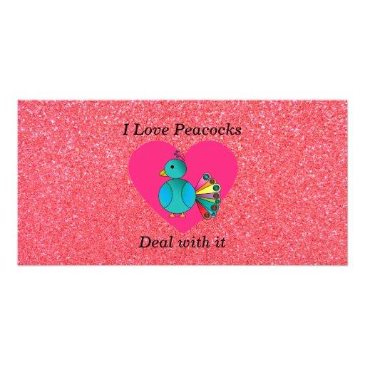 I love peacocks pink glitter photo cards