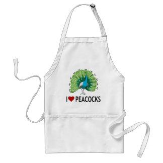 I Love Peacocks Standard Apron