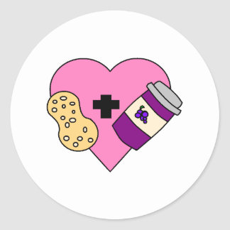 I love Peanut Butter and Jelly Classic Round Sticker