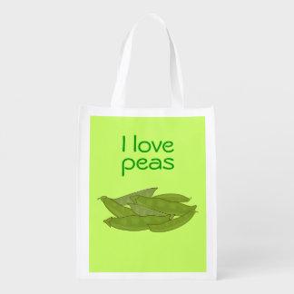I Love Peas Bag for Gardener Vegetarian Vegan Reusable Grocery Bags