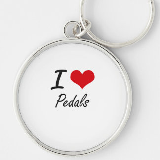 I Love Pedals Silver-Colored Round Key Ring