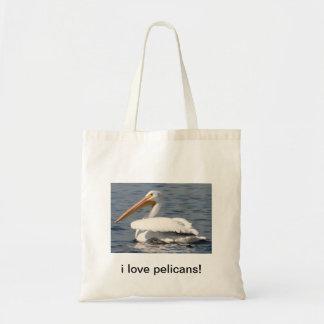 i love pelicans tote bags