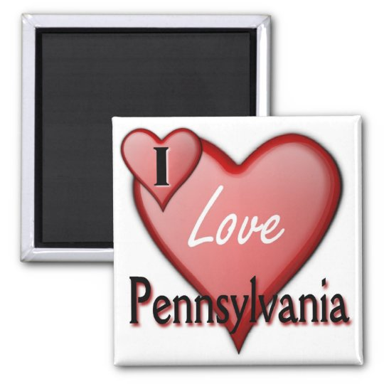 I Love Pennsylvania Square Magnet