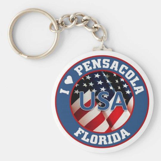 I love Pensacola Basic Round Button Key Ring