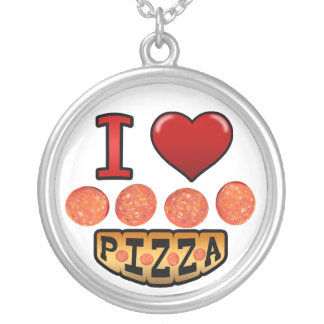 I love pepperoni pizza. round pendant necklace
