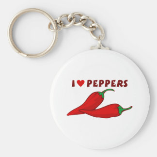 I Love Peppers Key Ring