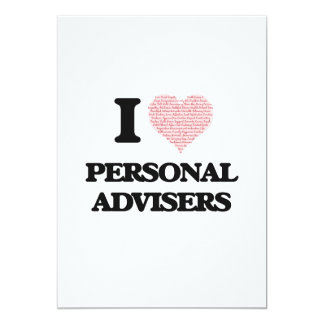 I love Personal Advisers (Heart made from words) 13 Cm X 18 Cm Invitation Card