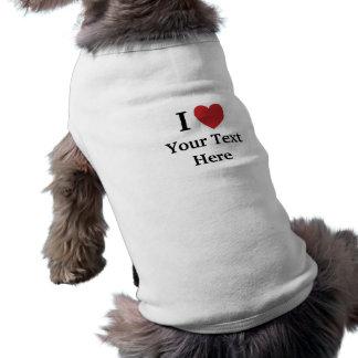 I Love Personalisable Dog Coat - Add Text Sleeveless Dog Shirt
