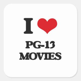 I Love Pg-13 Movies Square Sticker