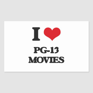 I Love Pg-13 Movies Rectangle Stickers