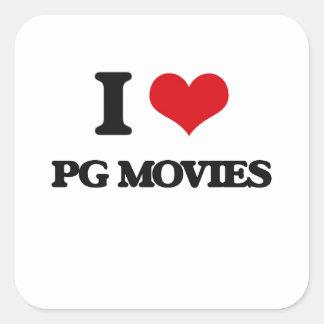 I Love Pg Movies Square Sticker