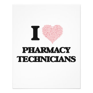I love Pharmacy Technicians (Heart made from words 11.5 Cm X 14 Cm Flyer