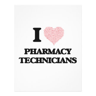 I love Pharmacy Technicians (Heart made from words 21.5 Cm X 28 Cm Flyer