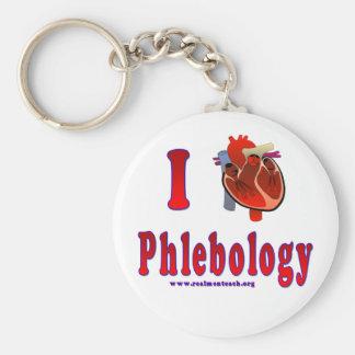 I Love Phlebology Basic Round Button Key Ring