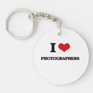 I Love Photographers Single-Sided Round Acrylic Key Ring