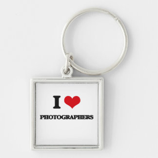 I Love Photographers Silver-Colored Square Key Ring