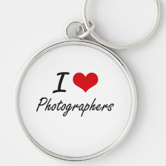 I Love Photographers Silver-Colored Round Key Ring