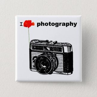 I love Photography Poppy Vintage Camera 15 Cm Square Badge