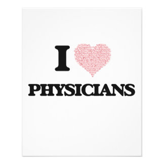 I love Physicians (Heart made from words) 11.5 Cm X 14 Cm Flyer